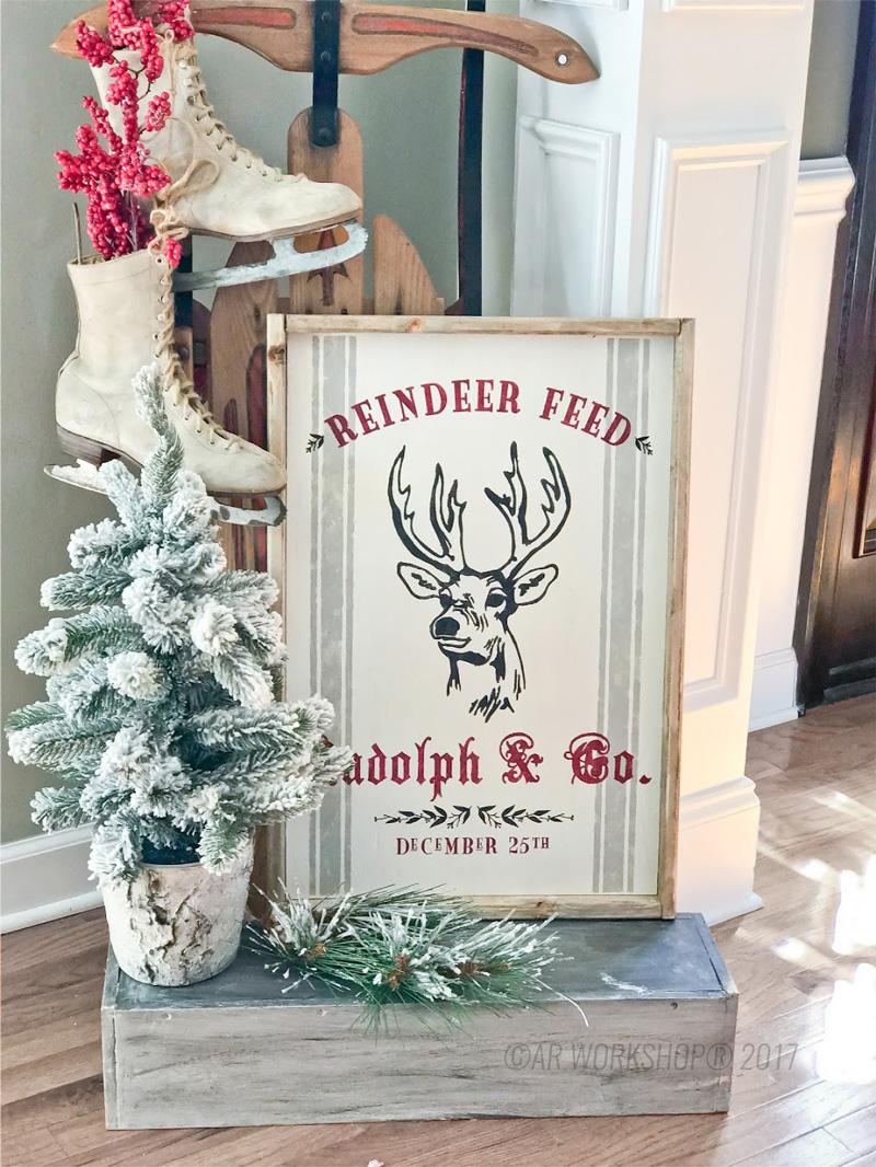 reindeer feed framed wood sign
