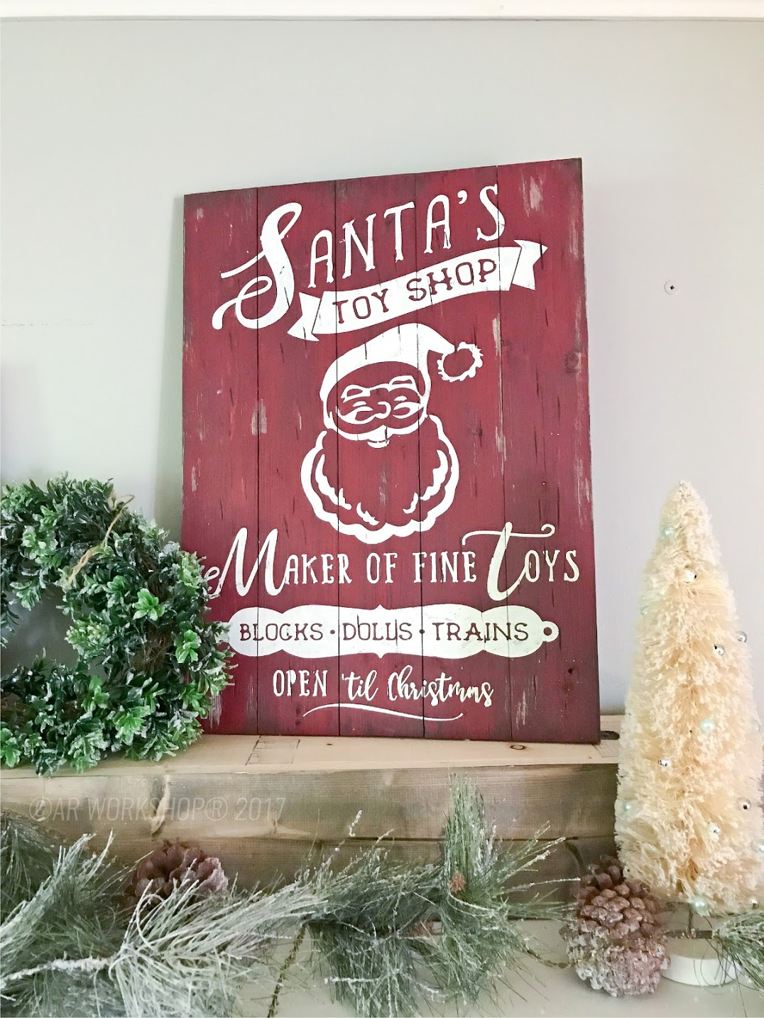 santas toy shop plank sign