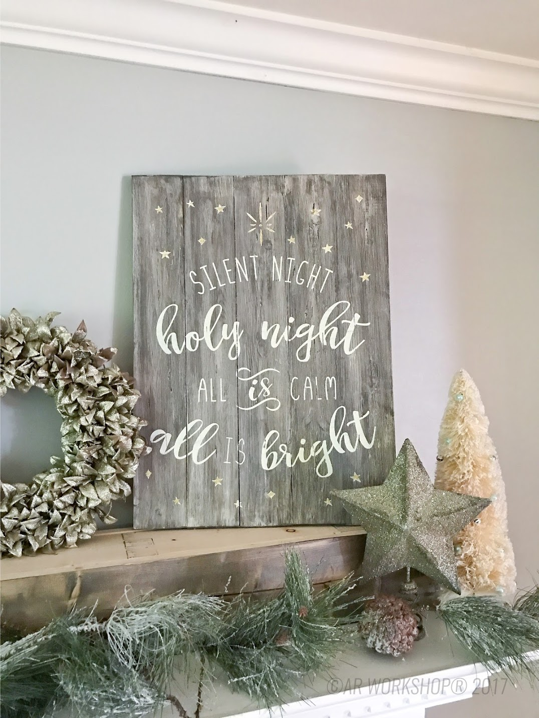 silent night holy night plank sign