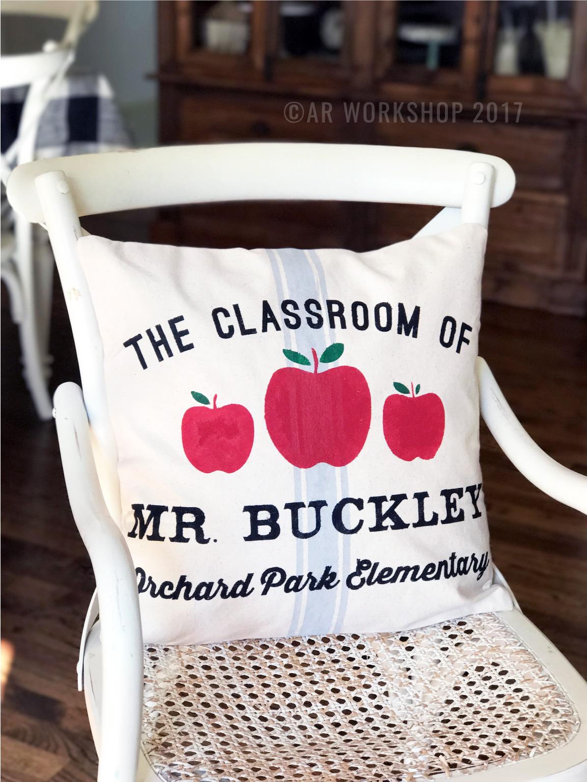 classroom of teacher pillow canvas diy