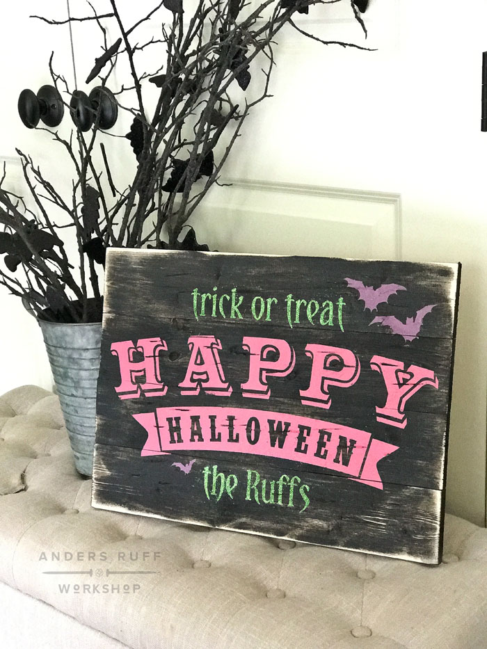 trick or treat halloween wood sign diy