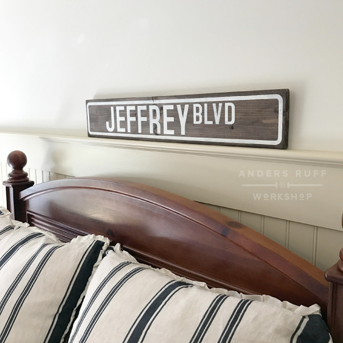 wooden signature plank street sign 6x32