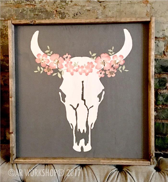 Bohemian Floral Cow Skull Framed Sign