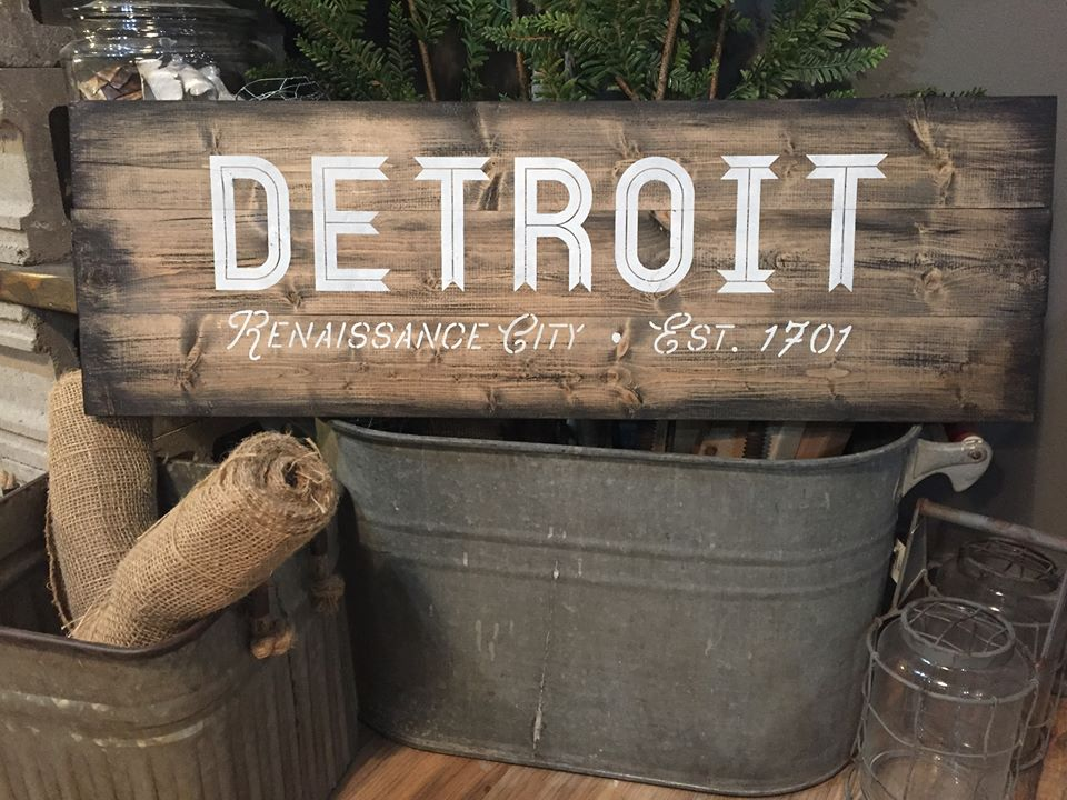 detroit renaissance city plank wood sign