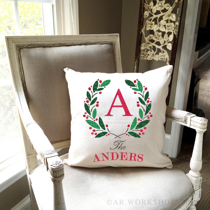 holiday wreath monogram pillow
