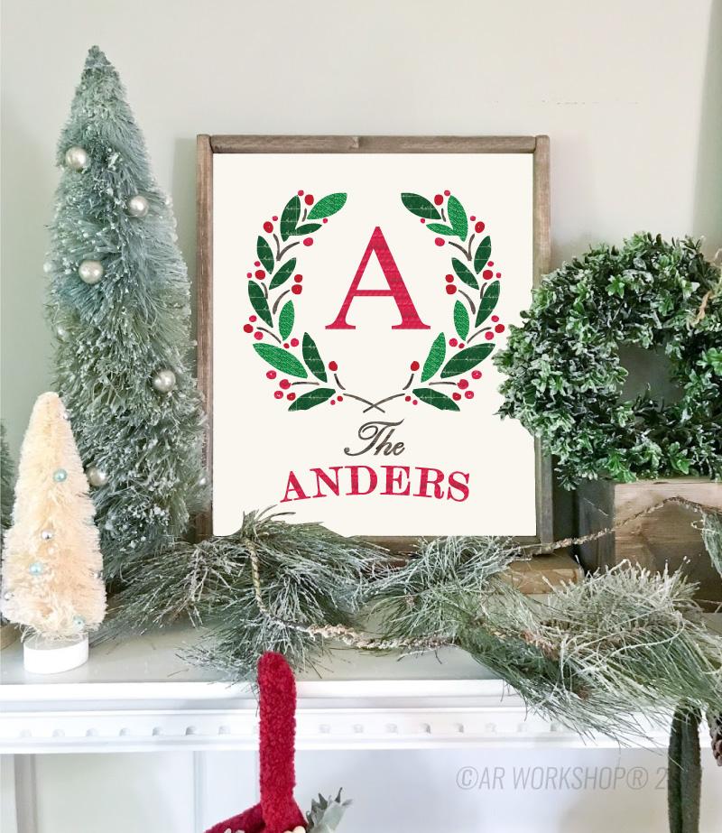 holiday wreath monogram wood framed sign