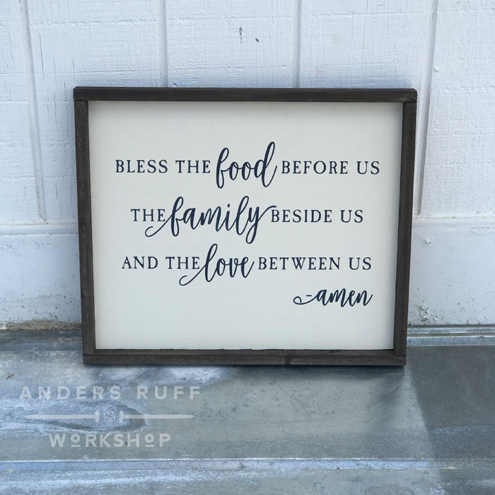 bless the food before us blessing framed wood sign prayer