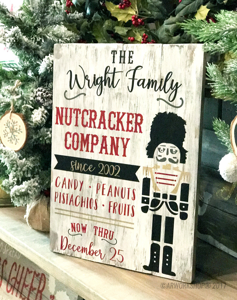 christmas nutcracker plank wood sign