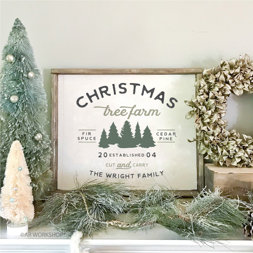 Established Name Christmas Tree Farm Framed Wood Sign