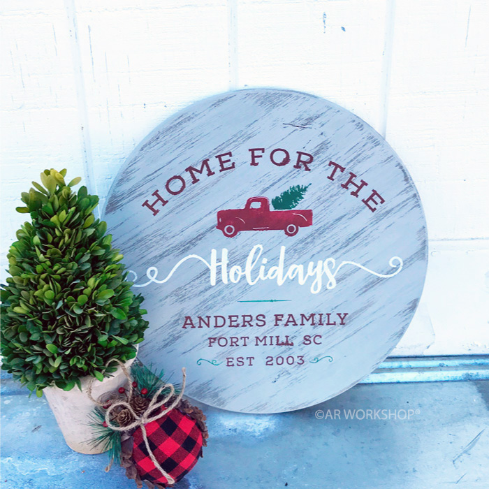 vintage truck home for the holidays round sign