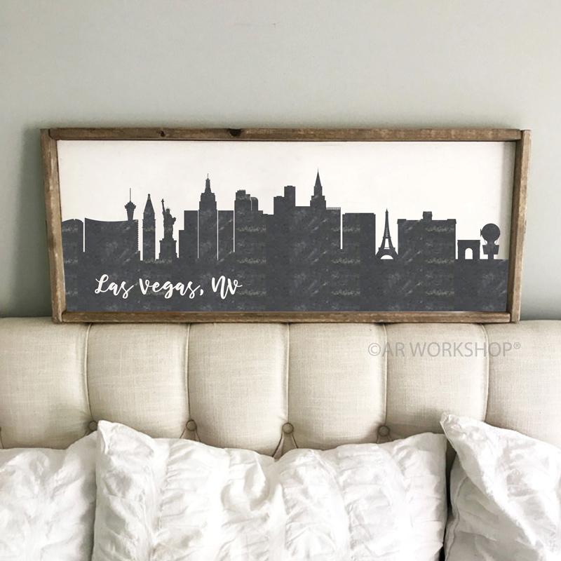 las vegas city skyline framed sign