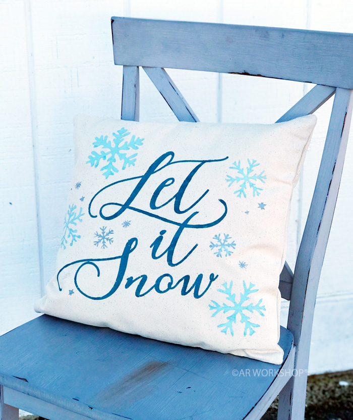 wintery let it snow pillow