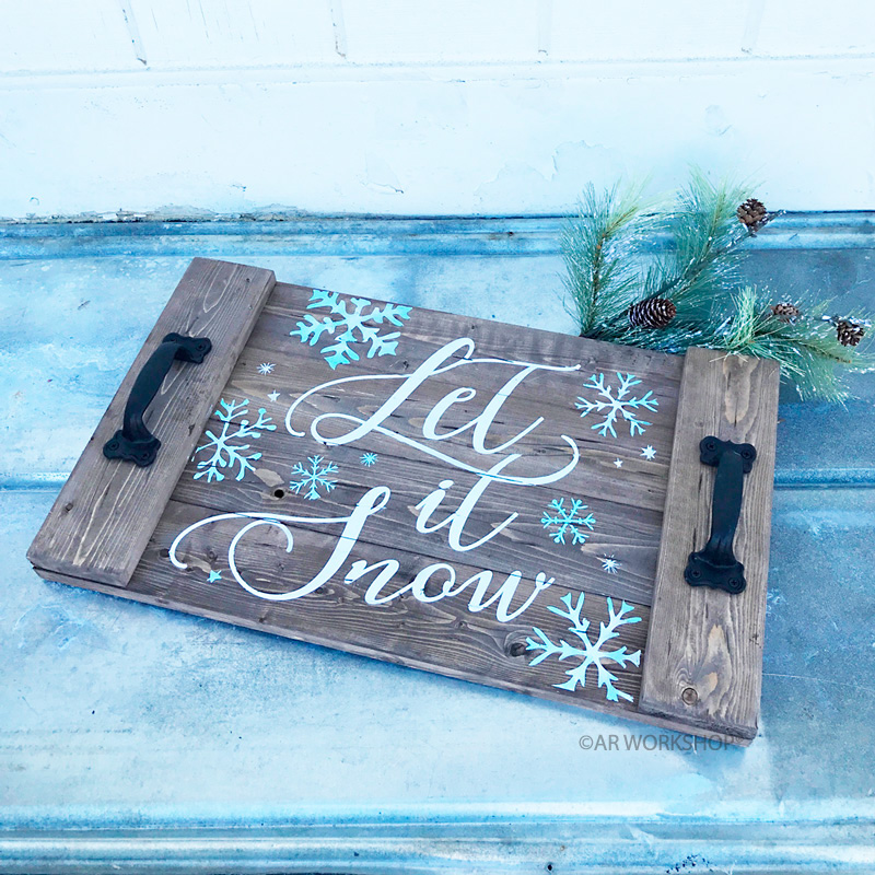 wintery let it snow plank wood tray