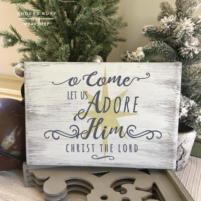 Oh Come Let Us Adore Him Wood Signs Christmas Signs Wood: Youth Plank Wood Signs