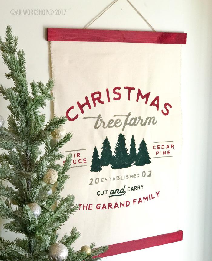 Established Name Christmas Tree Farm Canvas Wall Hanging