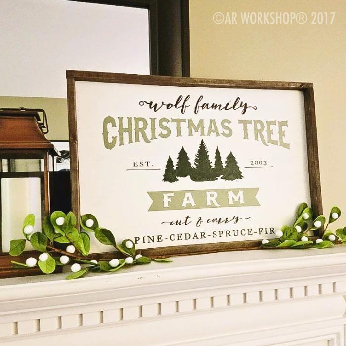 cut and carry christmas tree farm framed sign