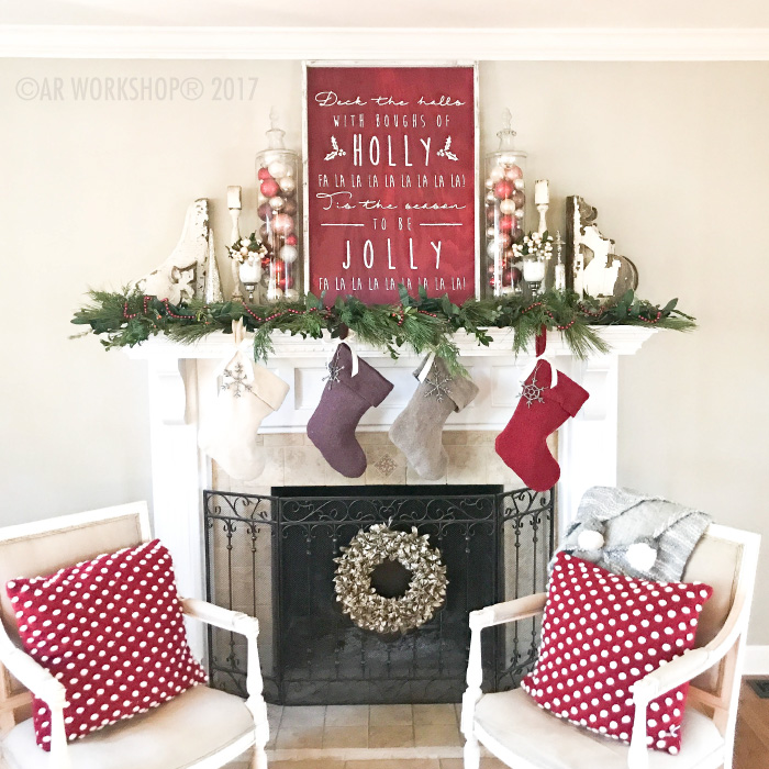 deck the halls with boughs of holly oversized framed sign mantle christmas decor