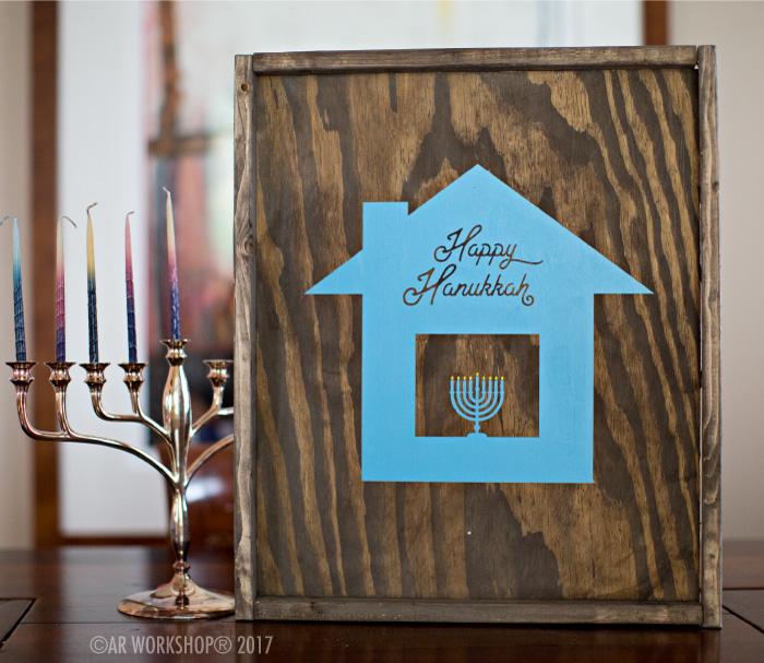 happy hanukkah house framed wood sign holidays