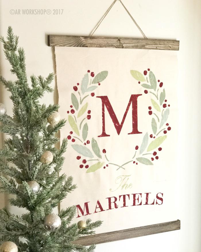 Holiday Wreath Monogram Canvas Wall Hanging
