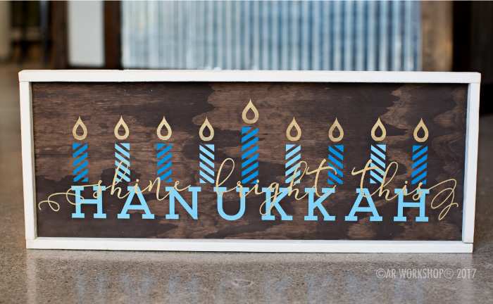 Shine Bright this Hanukkah framed wood sign holidays