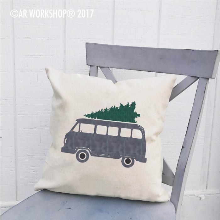 vintage bus tree pillow