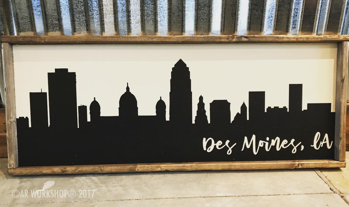 city skyline des moines framed sign - 14x34
