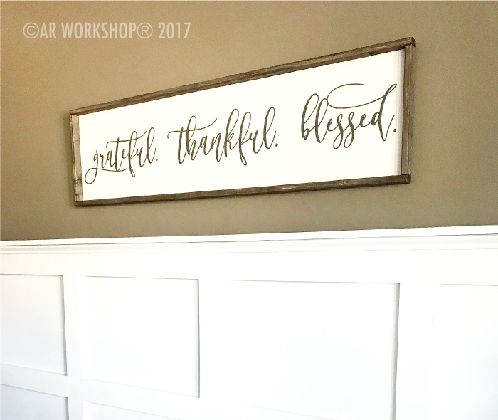 grateful thankful blessed oversized framed sign 50x14