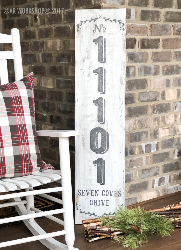 House Number Laurel Wreath Porch Solid Plank Sign 12x48