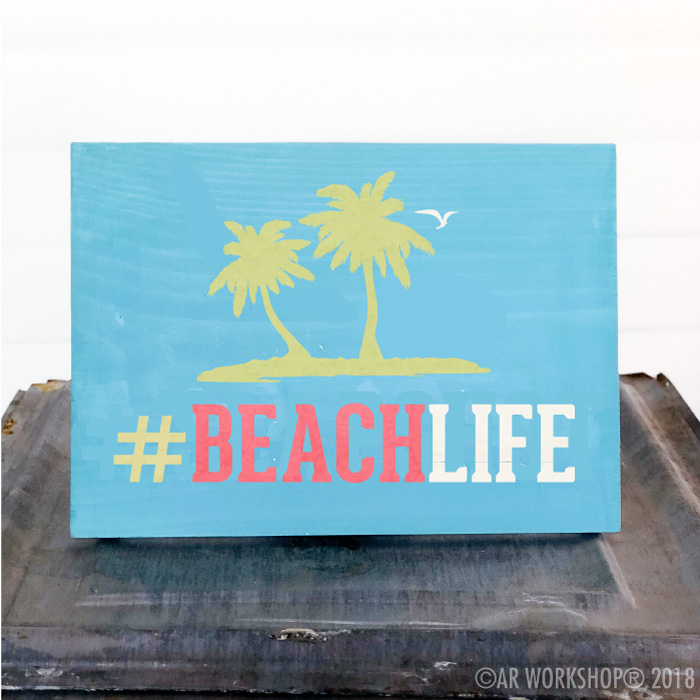 beach life palm trees youth plank sign