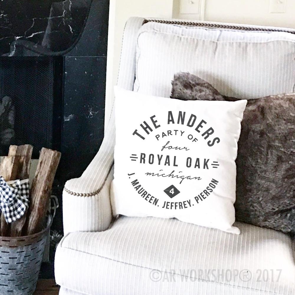family state logo pillow diy