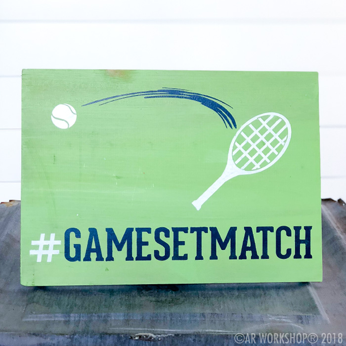 game set match tennis youth plank sign