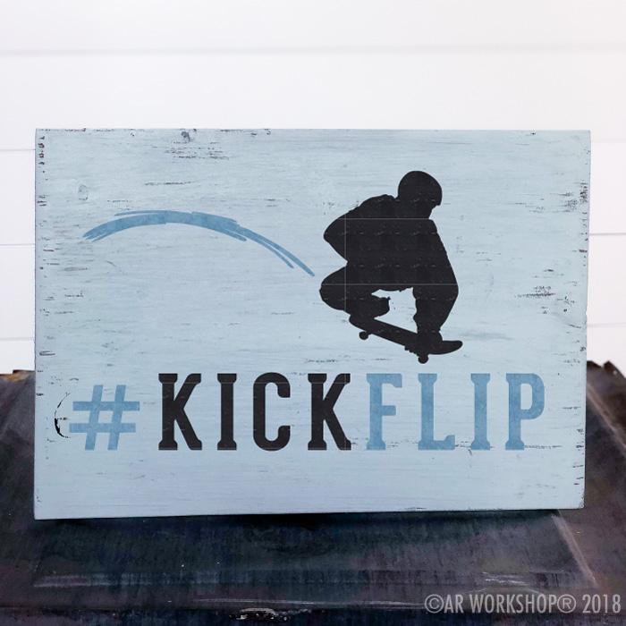 kick flip skateboarder youth plank sign
