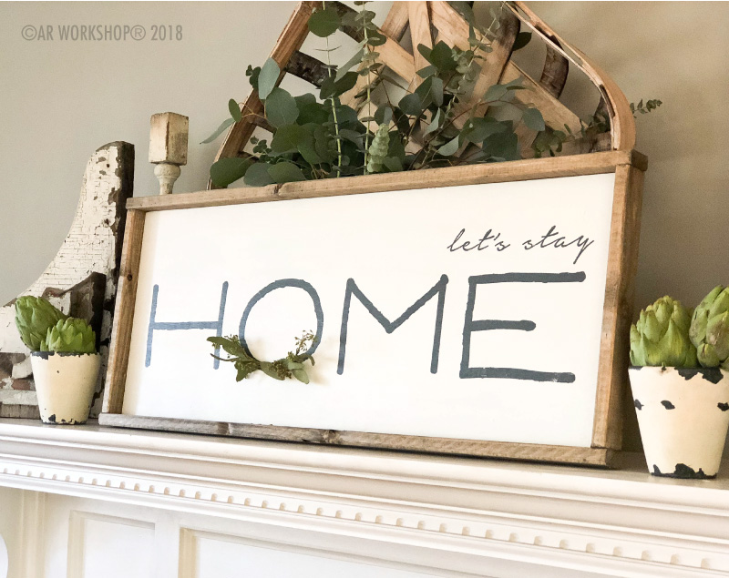 Modern Let's Stay Home Framed Sign 14x34 (greenery not included)