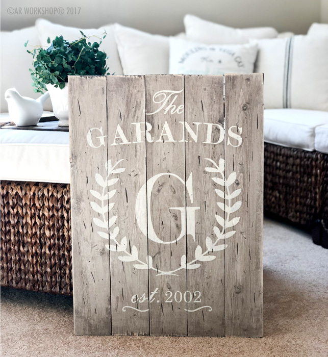 monogram laurel wreath established plank sign 17.5x24