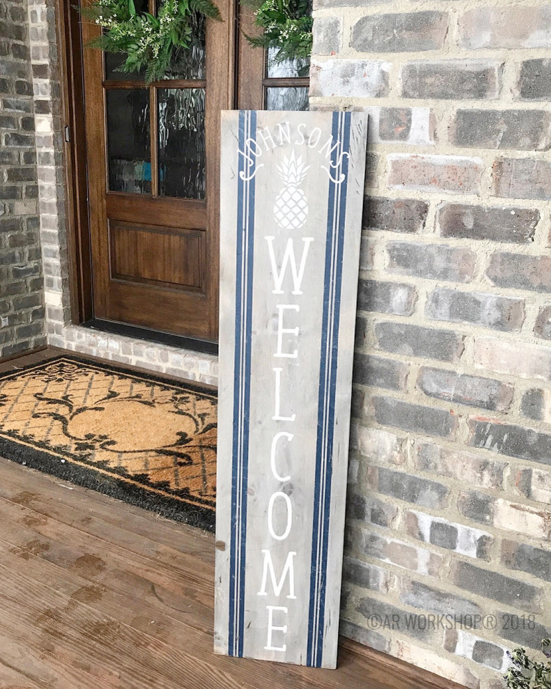 pineapple welcome porch sign 12x48