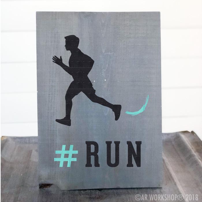 run runner boy youth plank sign
