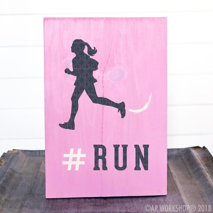 run runner girl youth plank sign