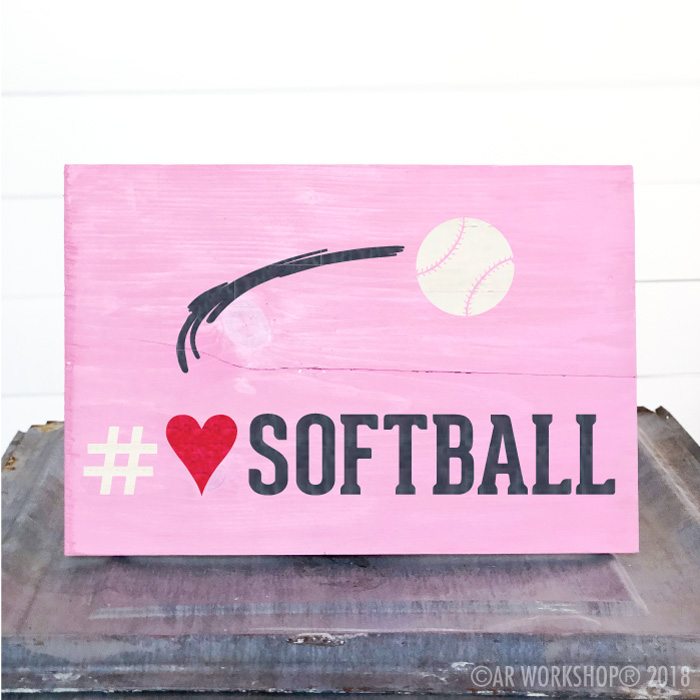 softball heart youth plank sign
