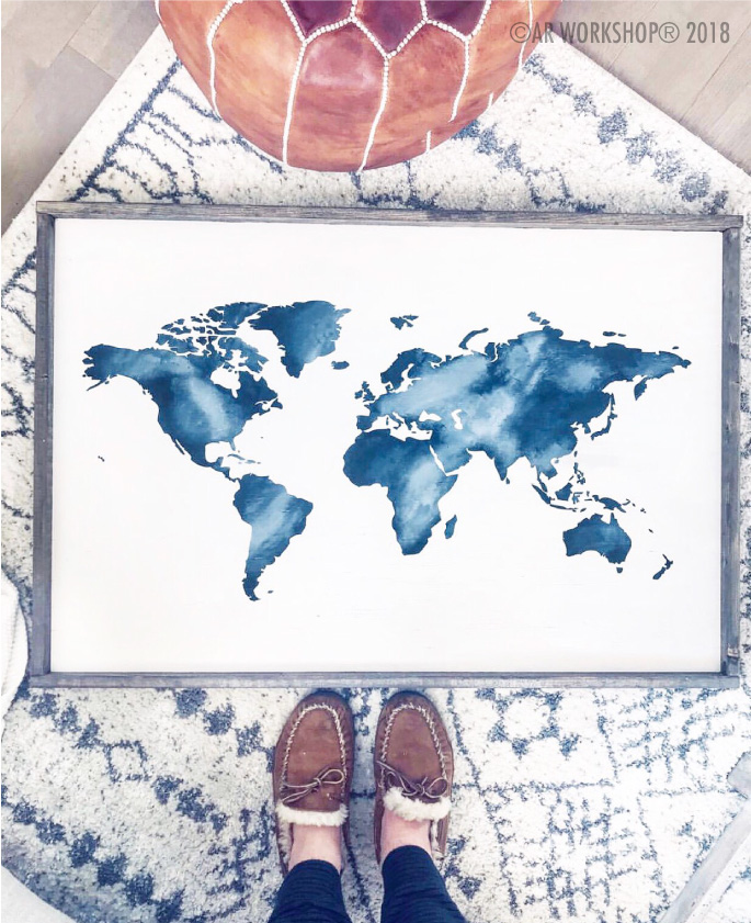 WORLD MAP silhouette FRAMED SIGN 18x26 wanderlust watercolor