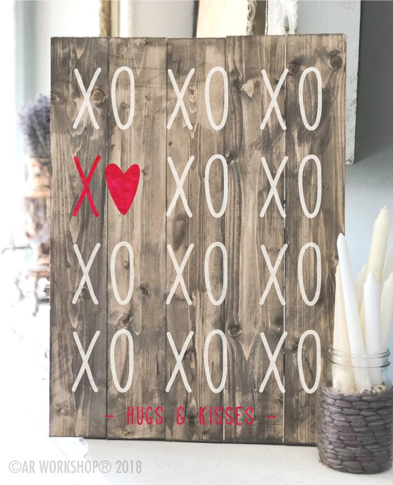 xoxo hugs and kisses valentines day plank sign 17.5x24