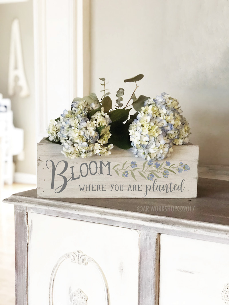 "bloom where you are planted centerpiece box 16"" planter"