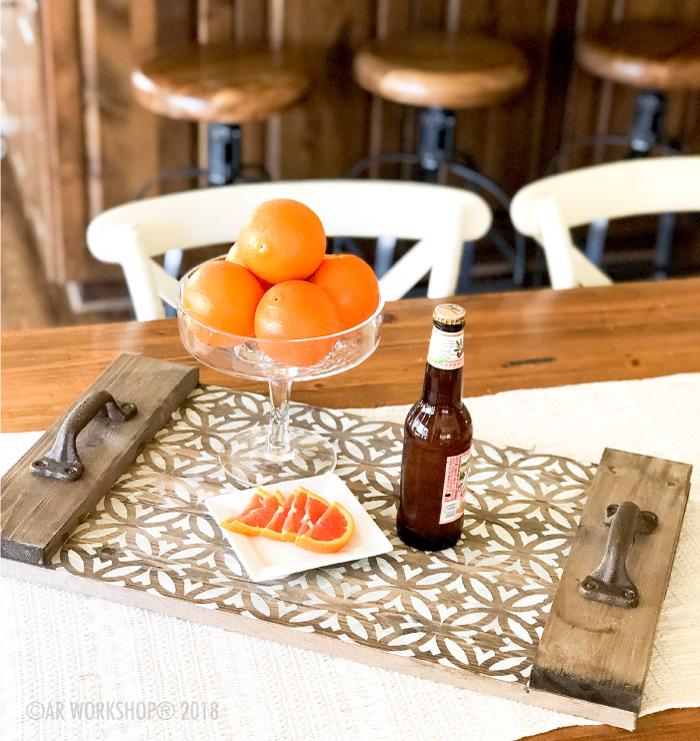 boho circle plank wood tray 14x24