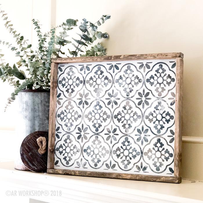 boho floral wood framed sign 18x21