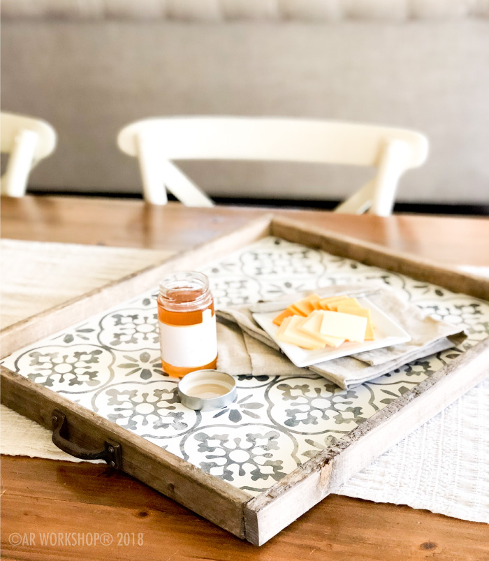 boho floral framed wood tray 18x21