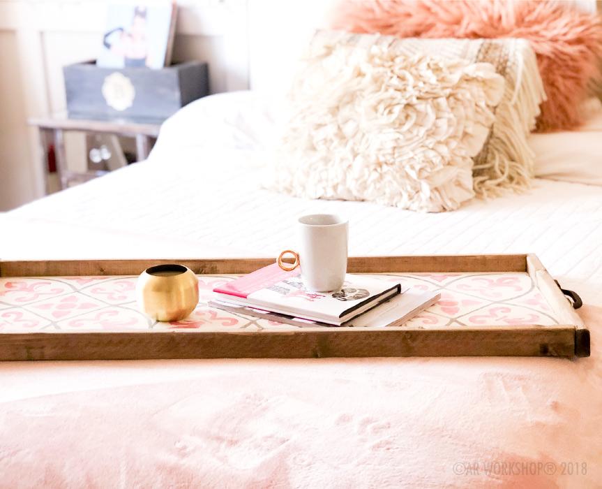 boho french framed wood tray
