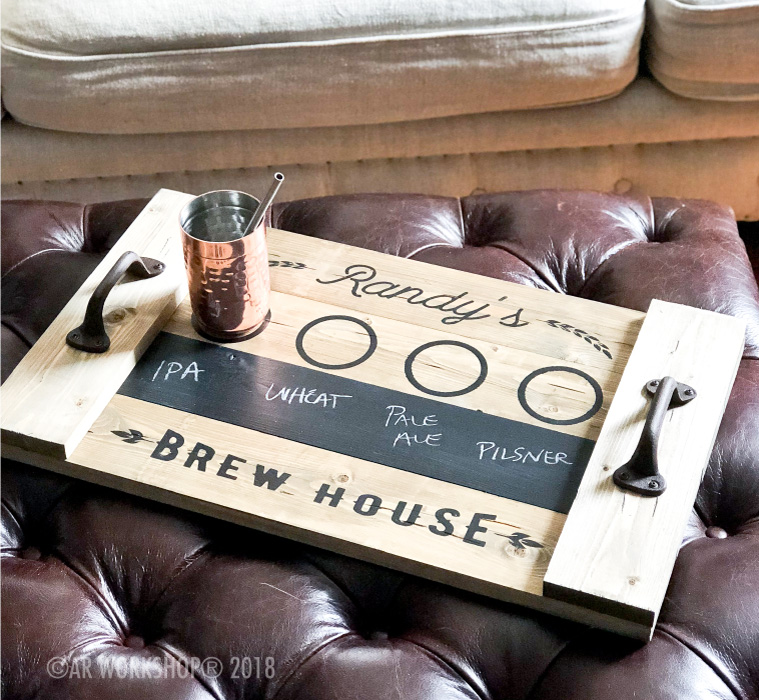 brew house beer tasting wood tray 14x24