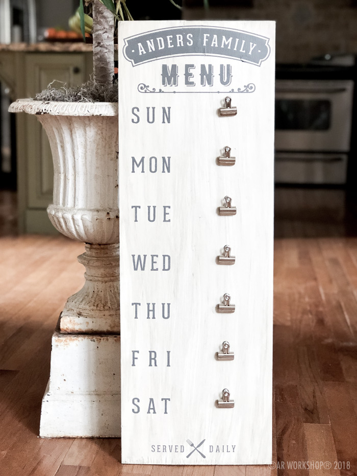 Family Menu Board Wood Sign 12x32