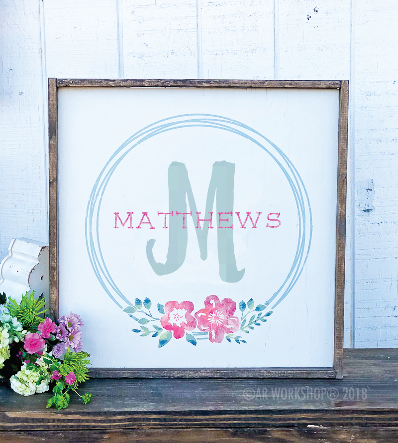 garden flower wreath last name oversized framed sign 26x26