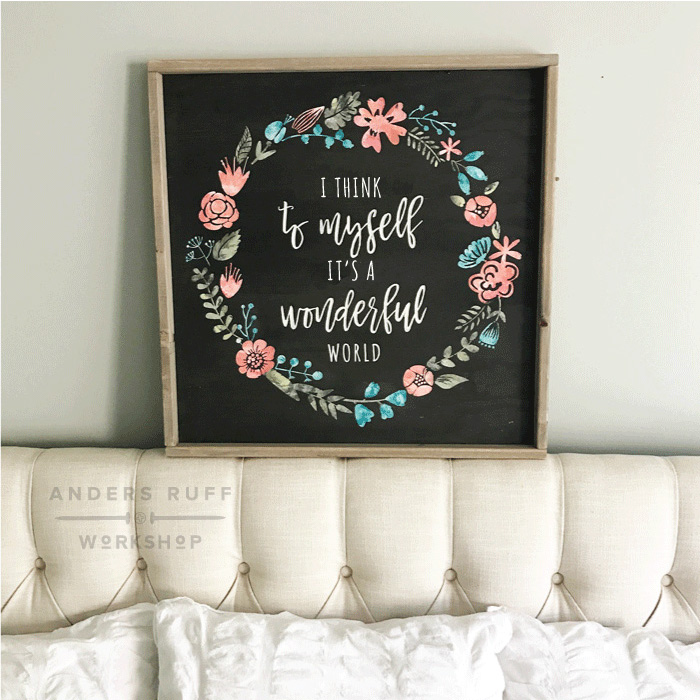 its a wonderful world floral framed sign 26x26