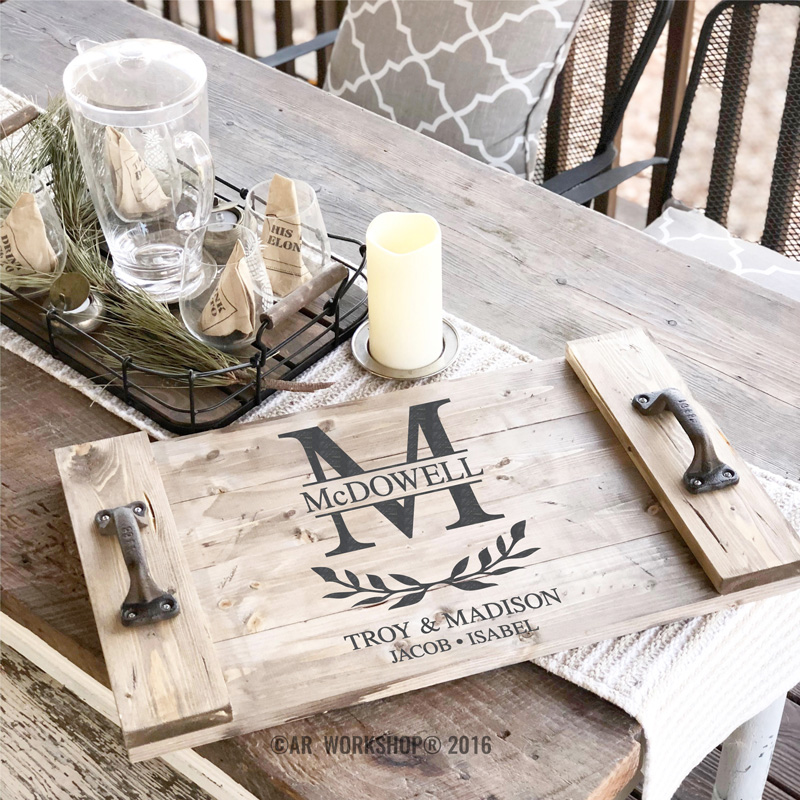 monogram family wood tray